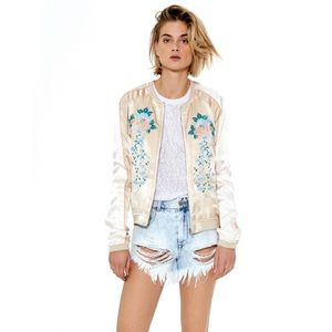 BLANK NYC Satin Floral Embroidered Bomber Jacket